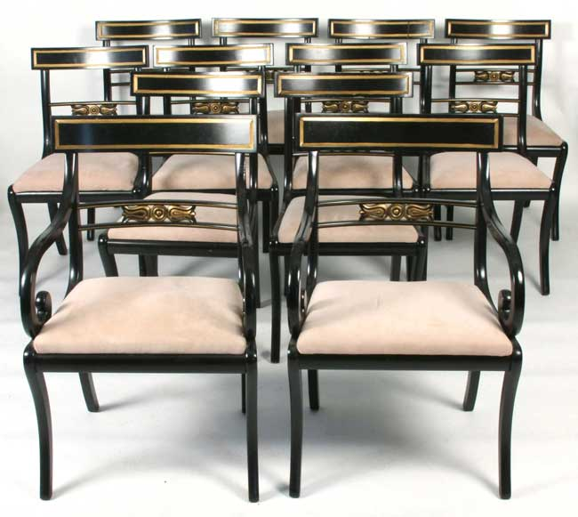 set of 12 regency style dining chairs 2 armchairs 10 side chairs in